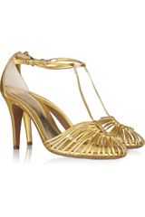 Sergio Rossi Metallic Leather Woven Sandals - Lyst