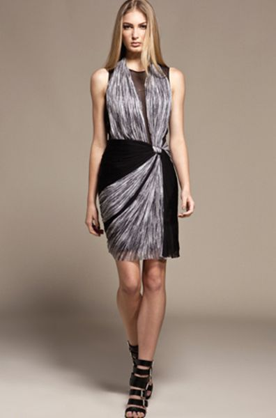 Willow Ruched Silk Tulle And Silk Chiffon Dress In Gray