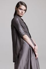 Rick Owens Leather Wedge Jacket, Dust - Lyst