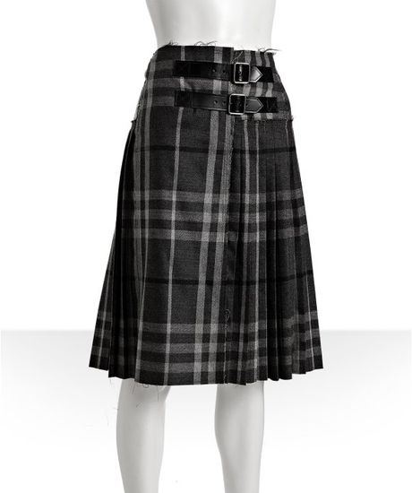 burberry grey check wool pleated belted skirt in gray