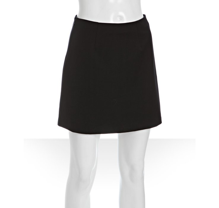stella mccartney black stretch cotton a line mini skirt in