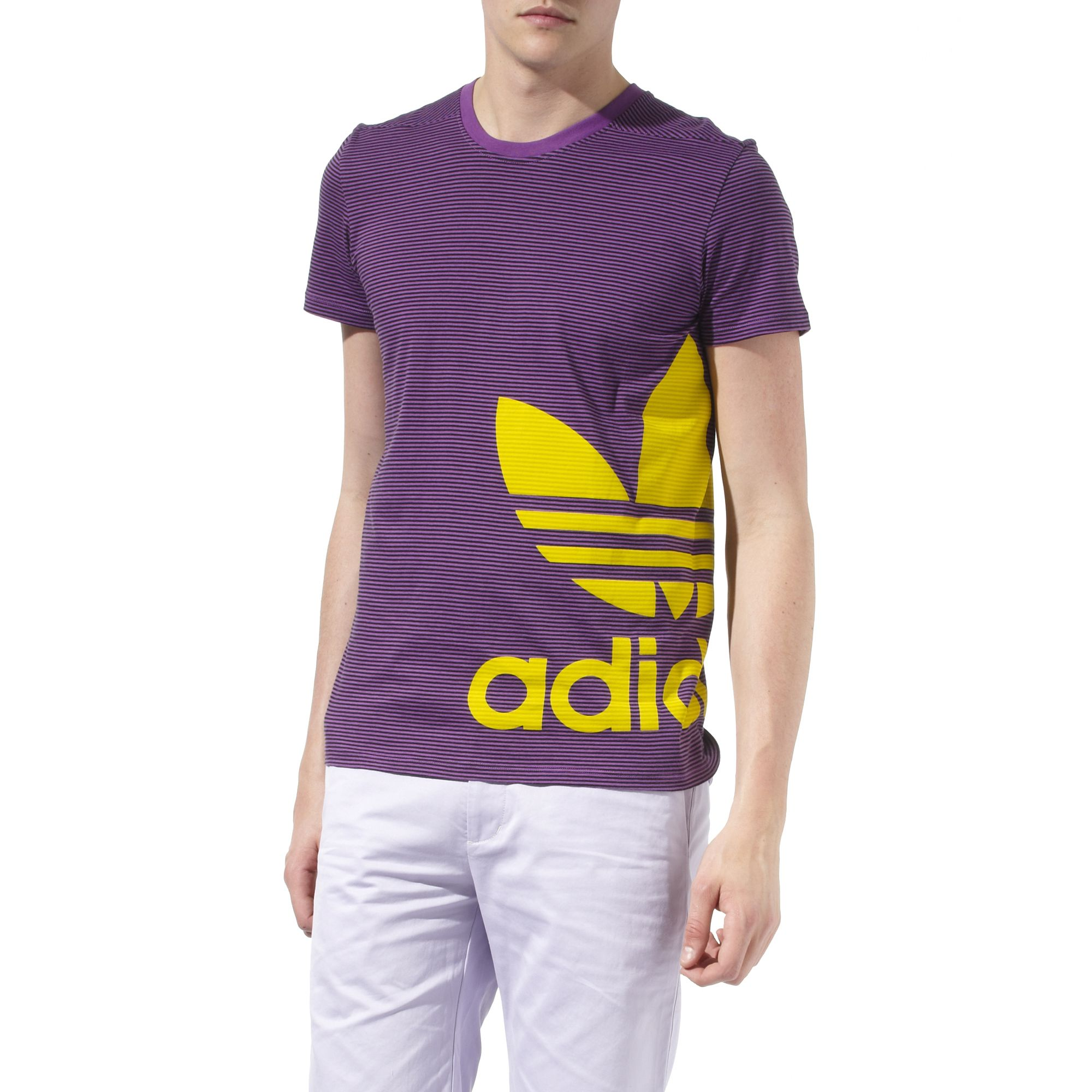Adidas striped logo t shirt in purple for men lyst for Purple and black striped t shirt