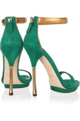 Gucci Suede and Glossedpython Sandals in Green (gold) - Lyst