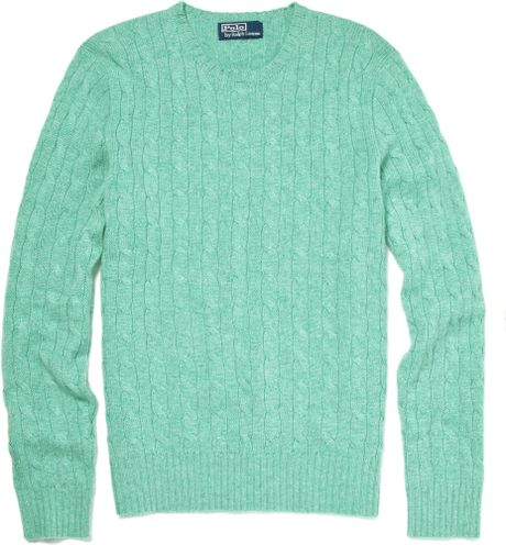 mint cashmere cable sweater
