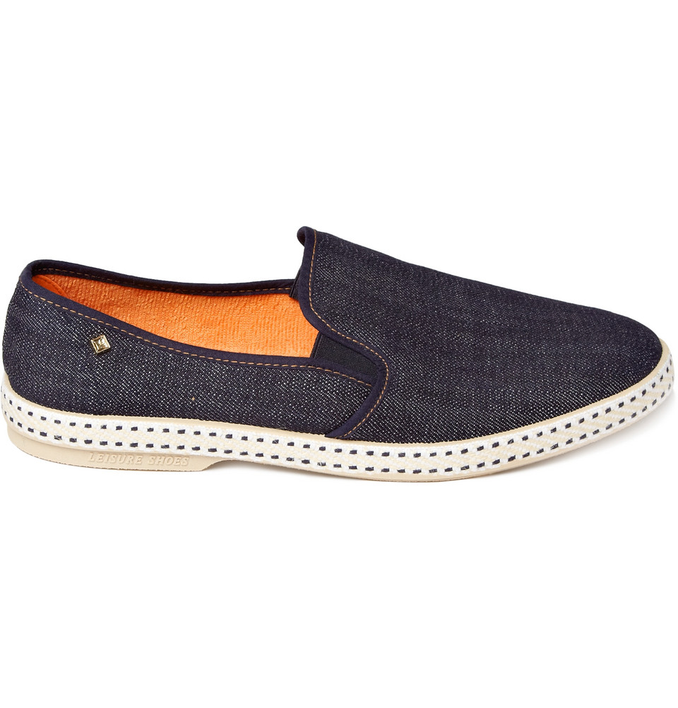 rivieras denim slip on shoes in blue for lyst