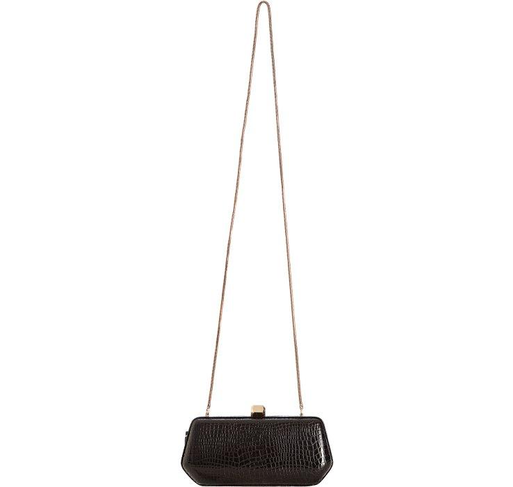 yves saint laurent discount handbags - grain 5/6 croc-stamped flap clutch bag, black