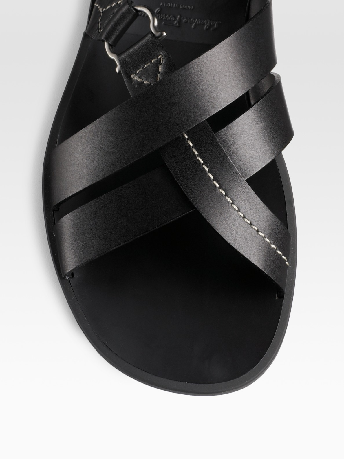 Lyst Ferragamo Leather Sandals In Black For Men