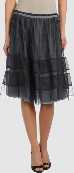 Jil Sander Knee Length Skirt in Gray (grey) - Lyst