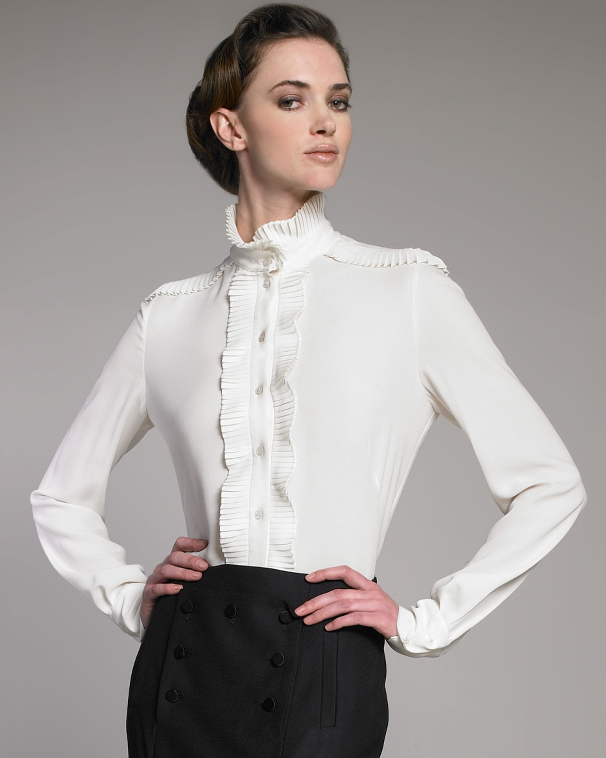 Blouse Designs Stand Collar : Lyst alexander mcqueen plisse stand collar blouse in white