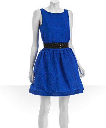 BCBGMAXAZRIA Blue Sapphire Textured Organza Belted Flared Party Dress - Lyst
