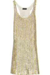 Halston Paillete-embellished Silk Mini Dress - Lyst