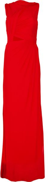 Halston Cutout Floor-length Jersey Dress - Lyst