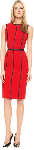 Michael Kors Leatherinsert Dress, Crimson in Black - Lyst