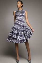 Oscar de la Renta Pleated Printed Dance Dress - Lyst