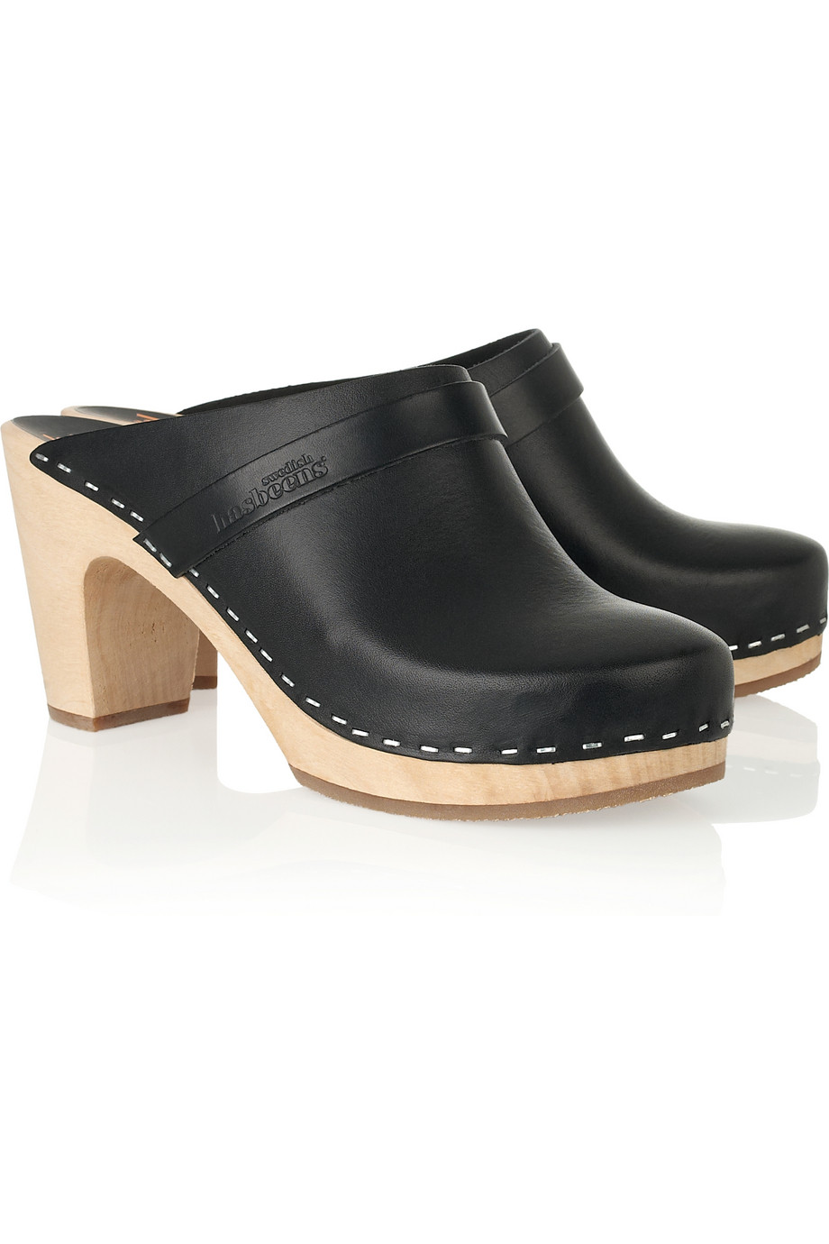 Swedish Hasbeens Super High Leather Clogs In Black Lyst