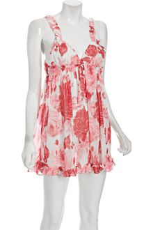 Betsey Johnson Final Rose Print Chiffon Babydoll Chemise with Thong - Lyst