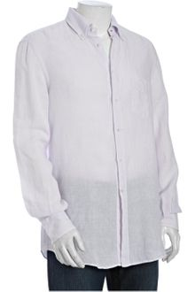 Brunello Cucinelli Lavender Linen Long Sleeve Button Down Shirt - Lyst