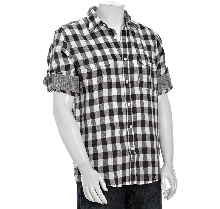 Joseph abboud gingham linen roll up sleeve shirt in black for Joseph abboud dress shirt