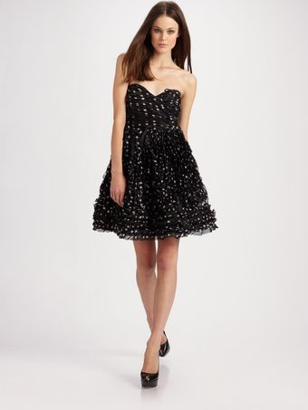 Vicky Tiel Silk Dot Strapless Dress - Lyst