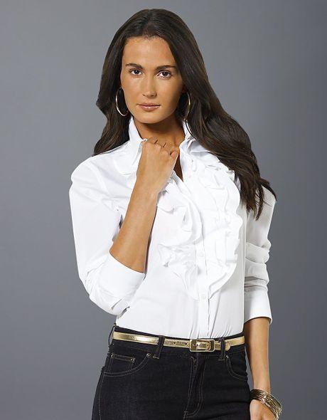 White Long Sleeve Ruffle Front Blouse 109