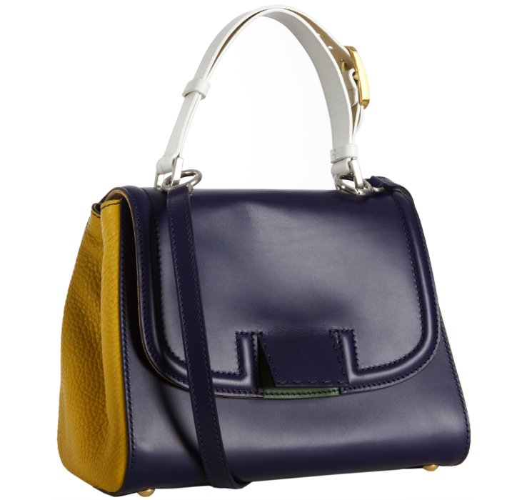 ... Navy and Yellow Leather Silvana Flap Crossbody Bag in Blue (navy