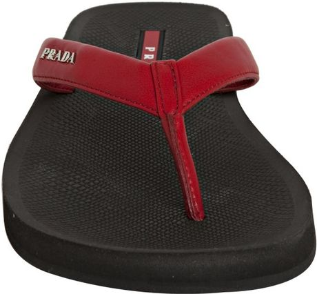 Prada Sport Red Leather Thong Flip Flops With Carry Case