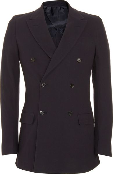 Saint Laurent Double Breasted Sport Jacket in Blue for Men (navy) - Lyst