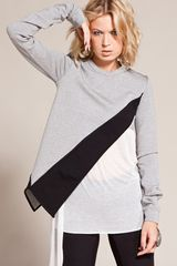 Gareth Pugh Sweat Top in Black/grey - Lyst