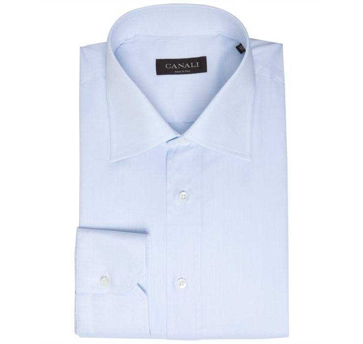 Canali light blue spread collar dress shirt in blue for for Men s spread collar shirts