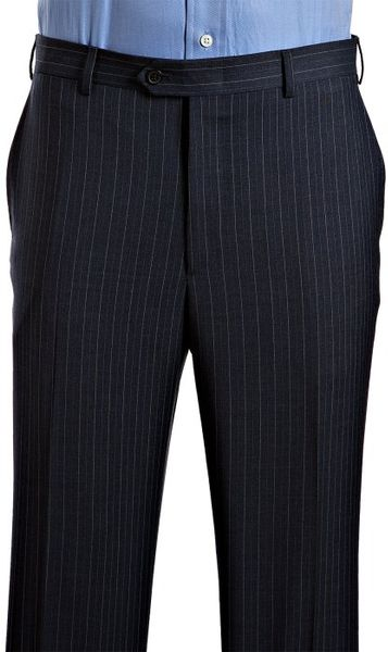 Valentino Roma Dark Blue Pinstripe Wool 2 Button Suit With