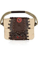 Sonia Rykiel Leather-embellished Canvas Bag - Lyst