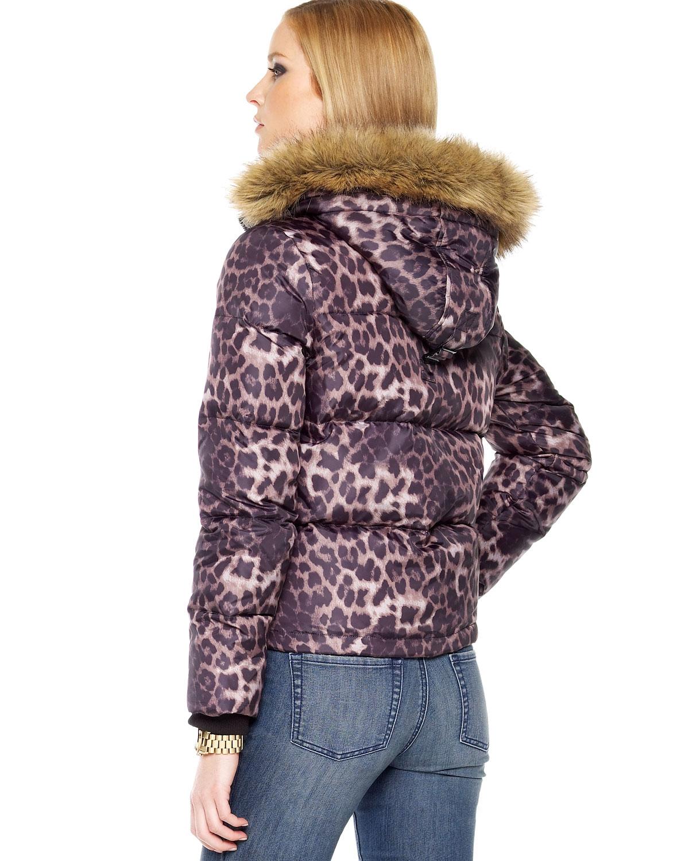 Michael Kors Michael Leopard Print Puffer Coat In Animal