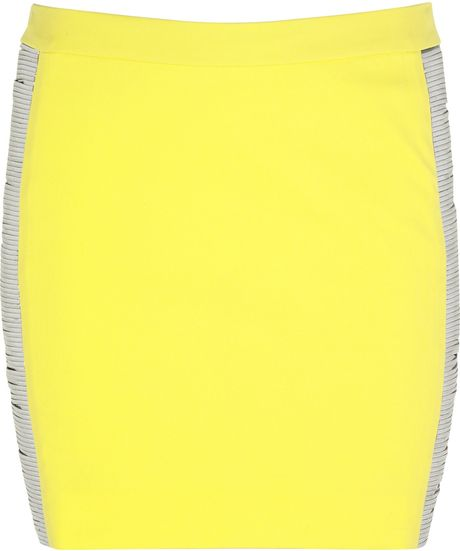 Versace Metalpanel Mini Skirt in Yellow - Lyst
