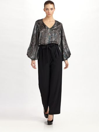 Yves Saint Laurent Tie-waist Wool Crepe Pants - Lyst