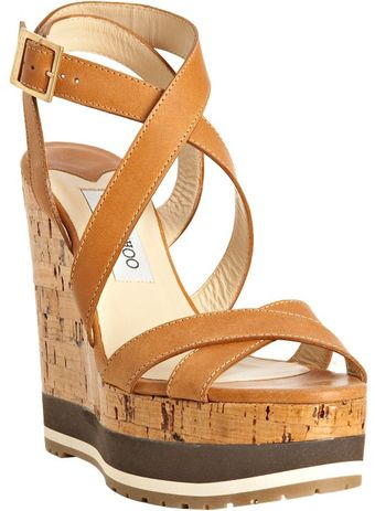 Jimmy Choo Tan Leather Cube Lacquered Cork Wedges - Lyst