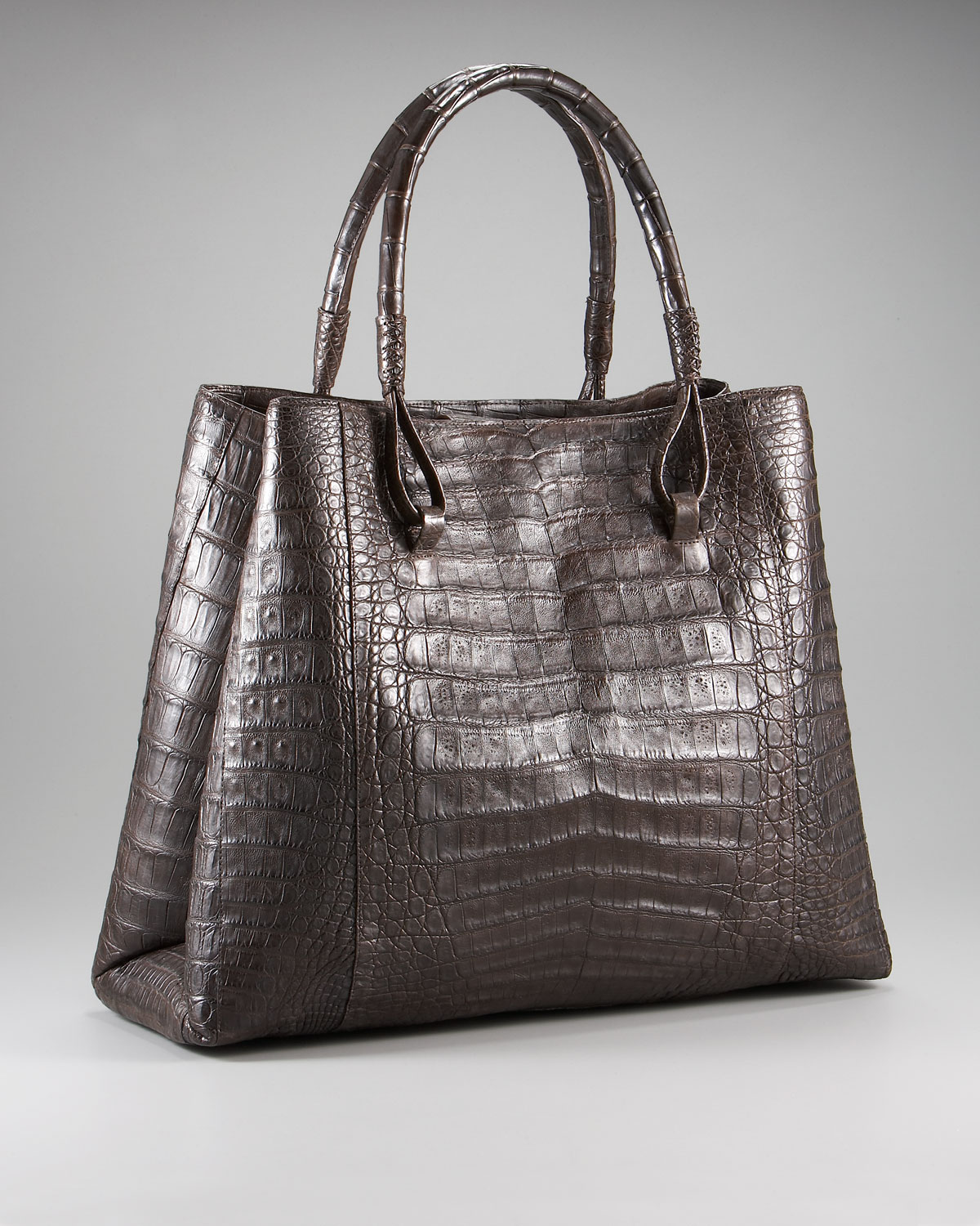 Nancy gonzalez crocodile loop handle tote in brown lyst for Nancy gonzalez crocodile tote