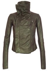 Rick Owens Scarabeo Leather Biker Jacket in Green - Lyst