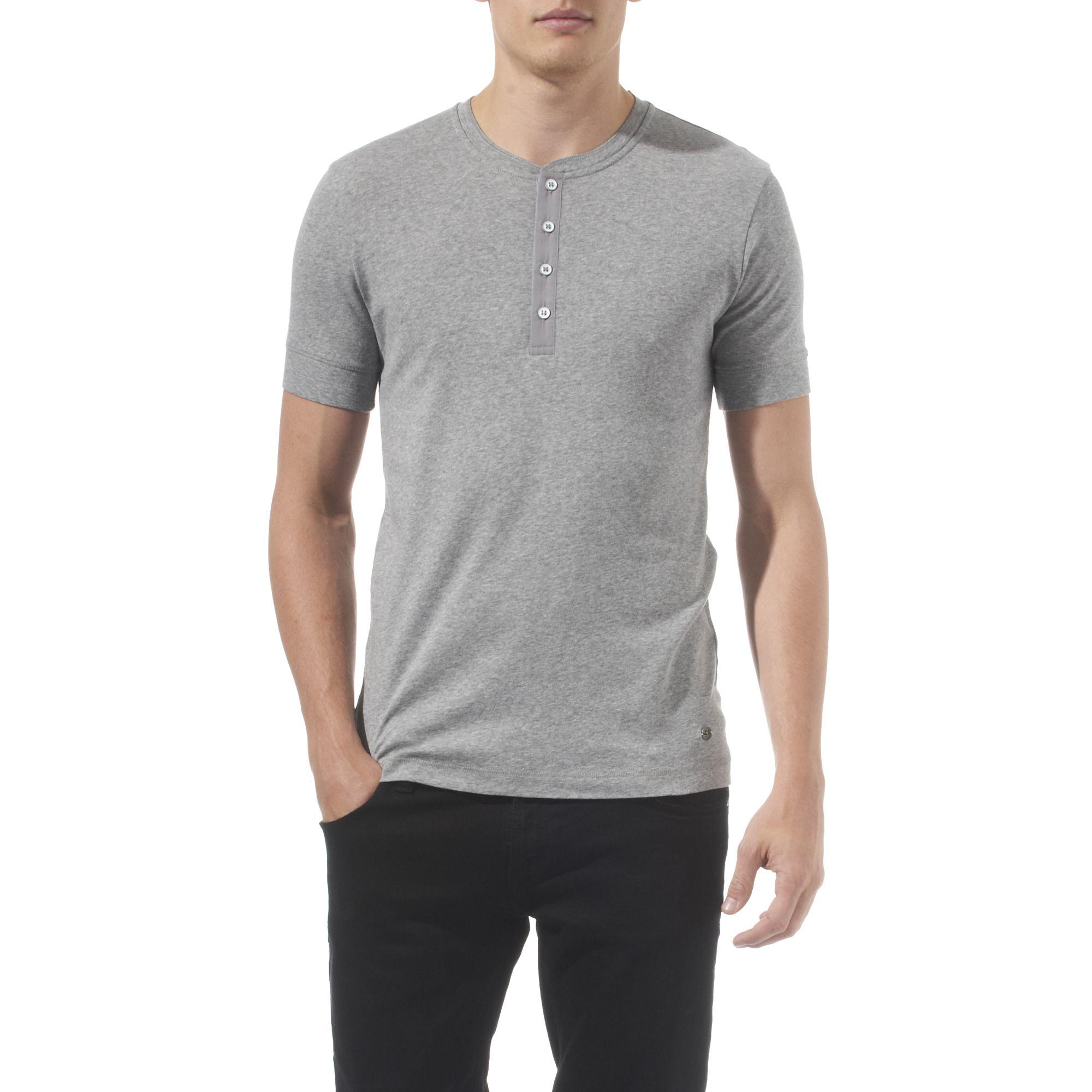 Hugo Boss Henley T Shirt In Gray For Men Grey Lyst