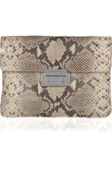 Michael by Michael Kors Sloan Oversized Python-effect Leather Clutch - Lyst