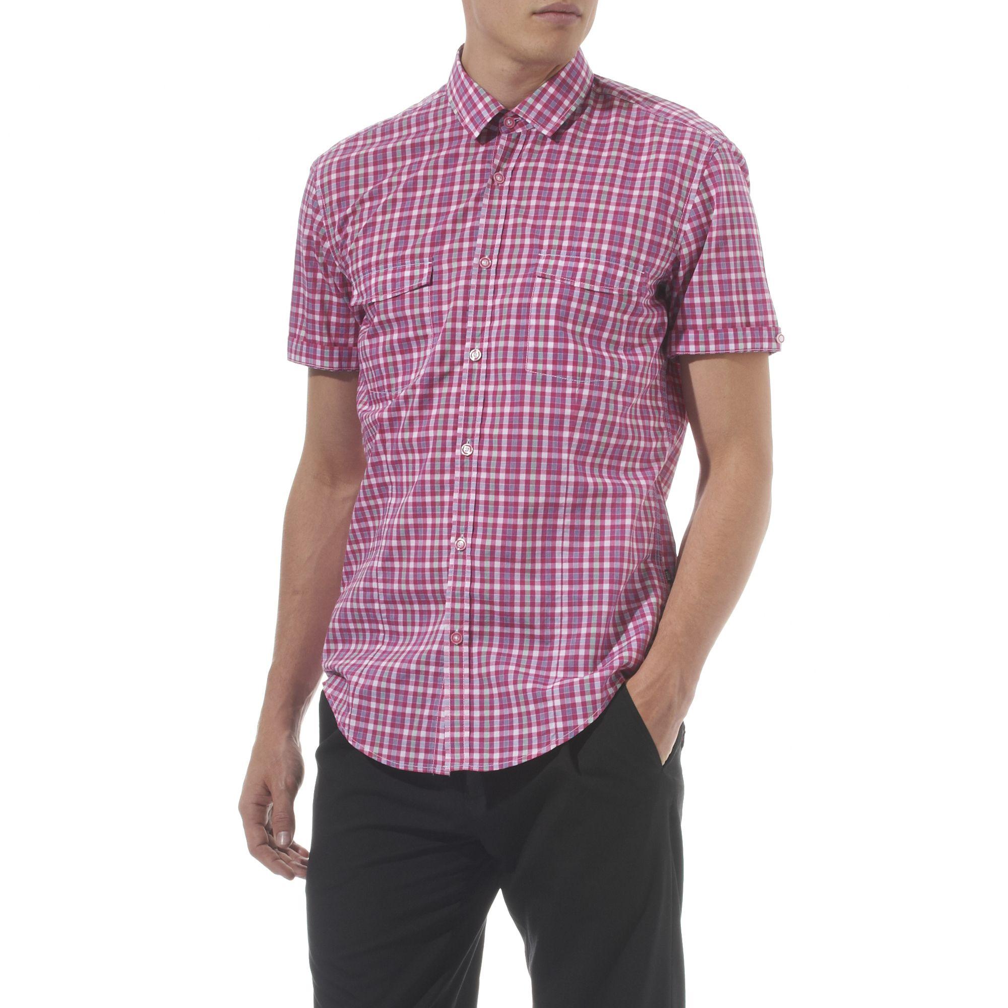 Hugo boss percy multi gingham shirt in pink for men lyst for Hugo boss dress shirt review