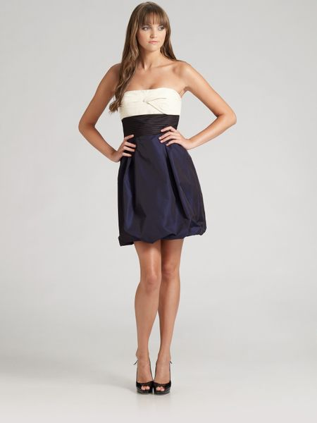 Bcbgmaxazria Strapless Colorblock Taffeta Dress in Blue (ink) - Lyst