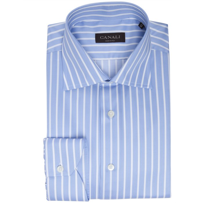 Canali Light Blue Bar Striped Cotton Spread Collar Dress