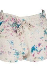 Iro Maurine Cream Silk Shorts - Lyst