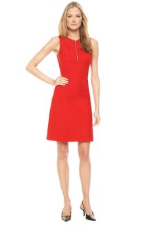 Michael Kors Zip-front Dress, Crimson - Lyst