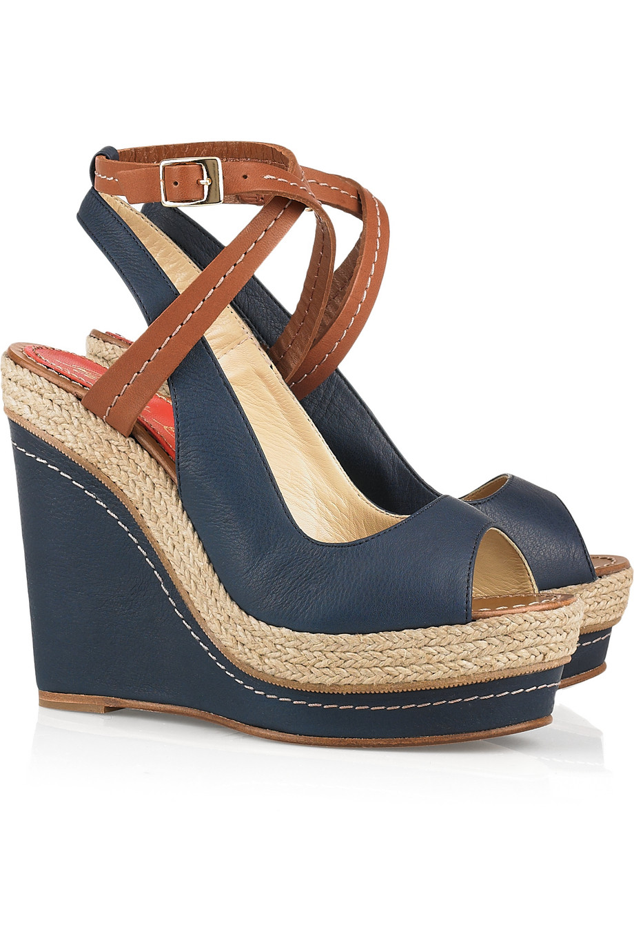 Paloma barceló Velati Leather Wedge Sandals in Blue (navy ...