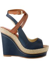 Paloma Barceló Velati Leather Wedge Sandals in Blue (navy) - Lyst