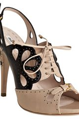 Miu Miu Powder Perforated Leather Lace-up Slingbacks