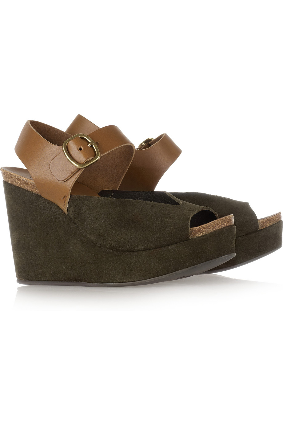 pedro garcia marnie suede and leather wedge sandals in