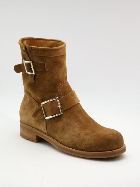 jimmy choo suede flat biker boots in brown whiskey lyst
