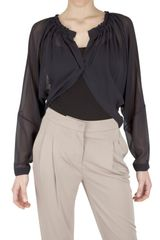 Archivio Privato Ruffled Neck Silk Georgette Shirt - Lyst